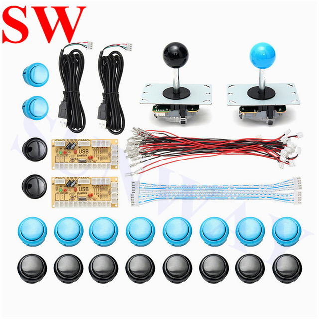 US $30 77 |2 Player DIY Kit USB cable to PC joystick button encoder plate  arcade joystick Game handle set kits MAME Multicade Arcade parts -in