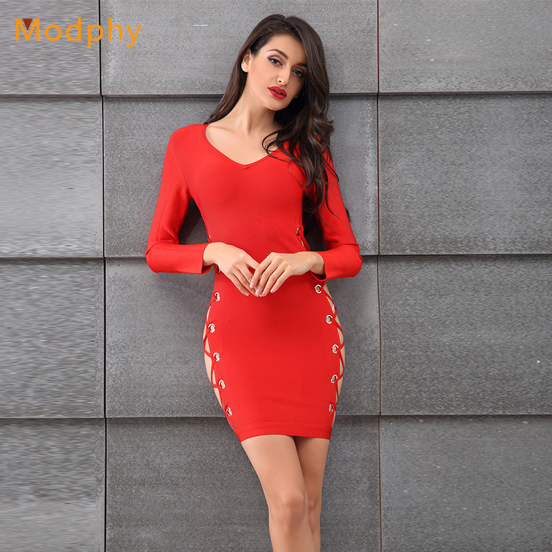 2018 New Women Sexy Busty Hollow out Full Sleeve Rayon Stretch Winter Club Party Bodycon Bandage Dress Dress Drop Shipping HL979