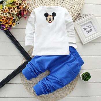 Baby Boys Clothes 2017 Spring Autumn Cartoon Leisure Long Sleeved T-shirts + Pants Newborn Baby Girl Clothes Kids Bebes Suits 3