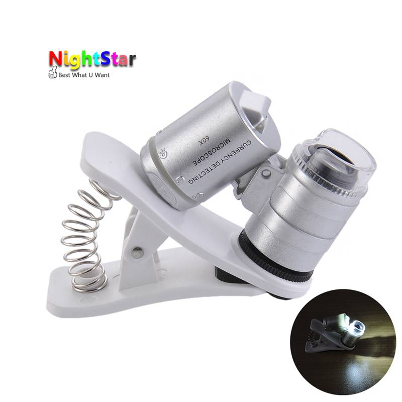 60x Zoom Universal Cell Phone Loupe Microscope Lens Magnifier Micro Camera For iPhone 6 5S 4S Samsung Holder Color Random universal swivel tripod stand holder for cell phone camera black