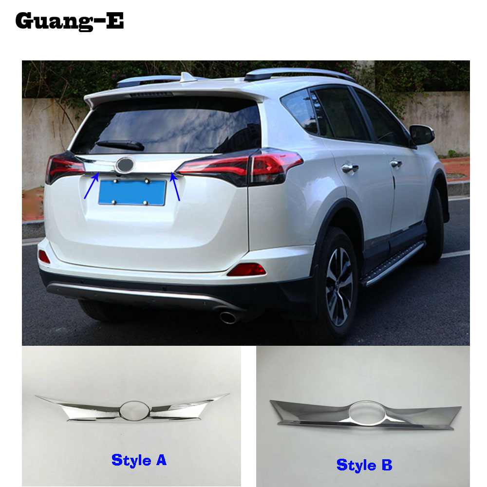Top quality For Toyota RAV4 2016 2017 2018 ABS Chrome Car Styling Trunk Lid Cover Molding Rear Door Tail Gate Trim Stick 1pcs for vw volkswagen transporter t6 caravelle 2017 2018 car rear door tail gate bottom strips molding trim cover abs chrome