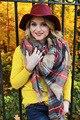 1 Pc Mulheres Lady Lã Blanket Oversized Envoltório Tartan da Manta Verificado Lenços Xale Lenços Grossos