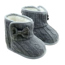 Newborn Baby Girl Knit Bowknot Faux Fleece Snow Boot Soft Sole Kids Wool Shoes 3-18 Months Winter Warm Booties