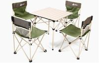Outdoor Folding Table Chair 5Pieces Portable Storage Stool Camping Leisure Table Aluminum Alloy Set