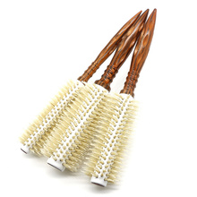 Free shipping Round Wood hairbrushes boar bristle hair Brush for Hairstyling and scalp massager Antistatic Hair comb T-012