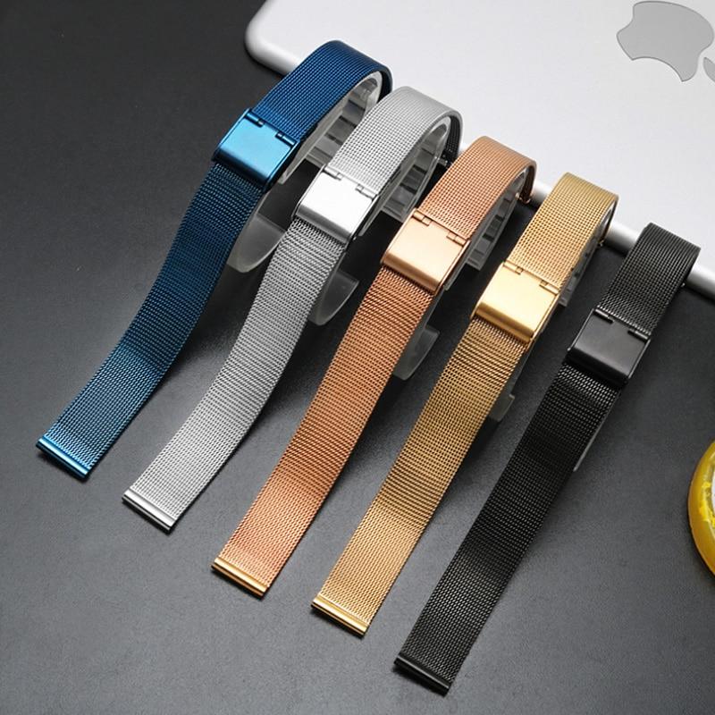 6mm 8 10 12 14 16 18mm 20mm 22mm 24mm Sort sølvblå ultratynn rustfrit stål milan Mesh Strap Armbånd Watch Band