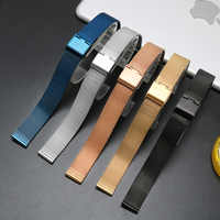 6mm 8 10 12 14 16 18mm 20mm 22mm 24mm Schwarz Silber blau ultra- dünne Edelstahl milan Mesh-Armband Armbänder Uhr Band