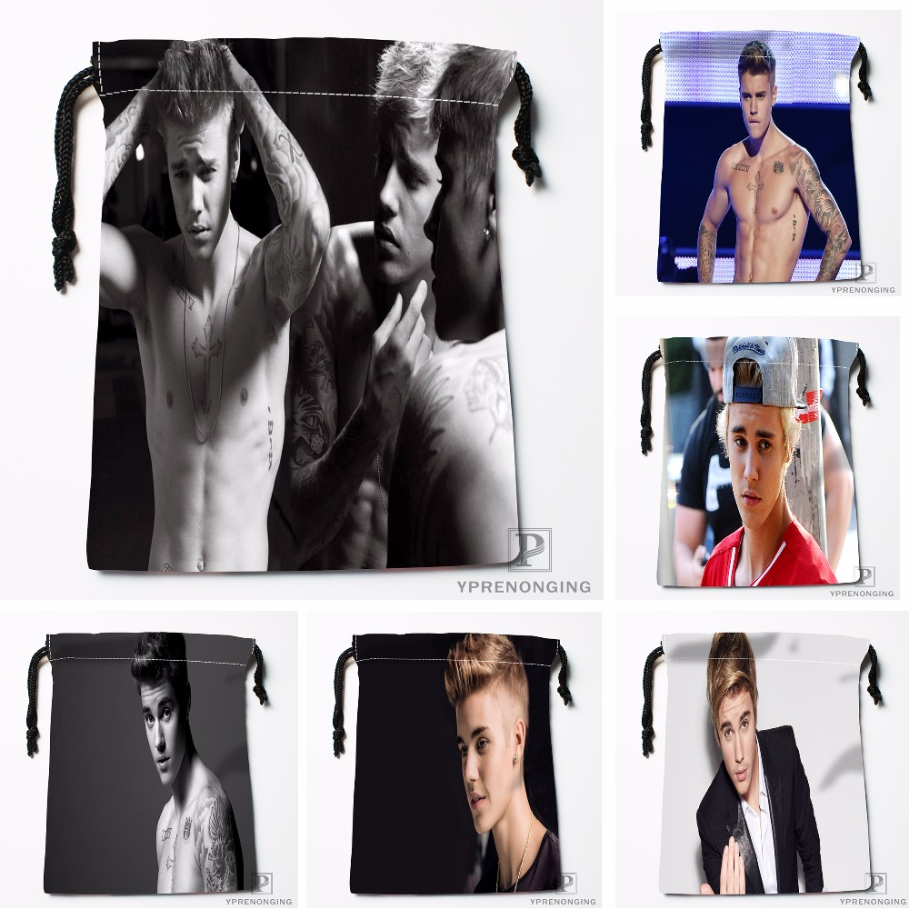 Custom Justin Bieber Drawstring Bags Printing Travel Storage Mini Pouch Swim Hiking Toy Bag Size 18x22cm#180412-11-58