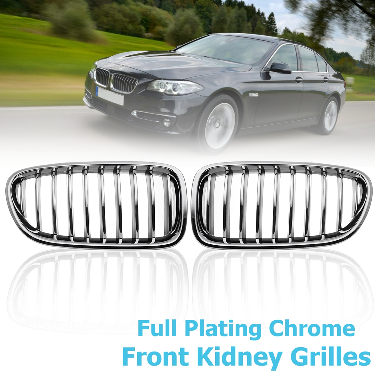 1 Pair Full Plating Chrome Front Kidney Grilles Auto Car-styling Front Racing Grill Grille for BMW 5-SERIES F10 F18 2010-2017 2pcs front grille bumper hood grill grilles automobile front kidney grille for bmw 1 series f20 2012 2014 glossy black