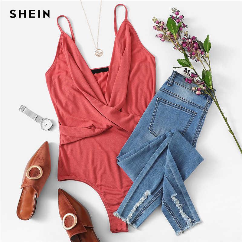 ملابس داخلية ضيقة وردية من SHEIN بقصة متقاطعة ورقبة واسعة ملابس نسائية صيفية مثيرة غير رسمية موديل 2019 بحمالات رفيعة متوسطة الخصر