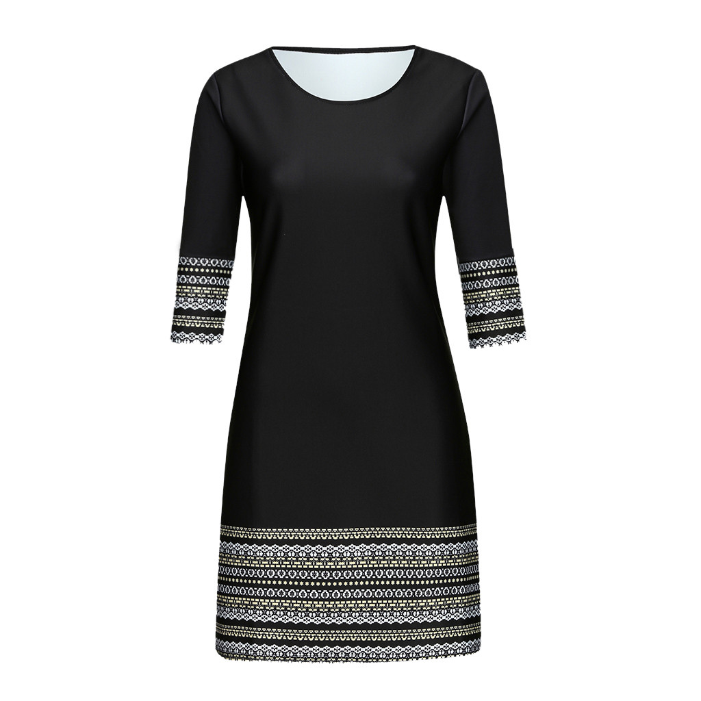 HTB1oVOydlCw3KVjSZFlq6AJkFXan Fashion Women's Casual Vintage Elegant Splice Middle Sleeve Easy Mini Dress elegant  robe femme robe longue femme robe vintage