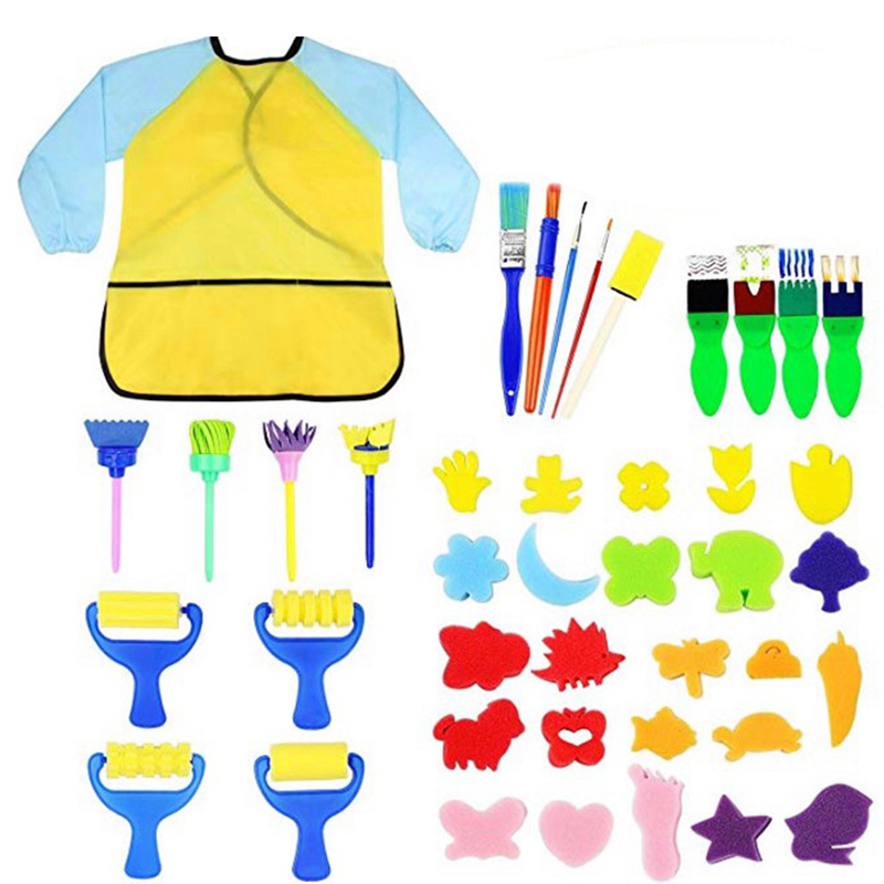 Sponge Painting Kit Bib Rollers Shapes Brushes Stamp Flower Foam Drawing Tools For Kids Children Early Learning DIY Art Craft