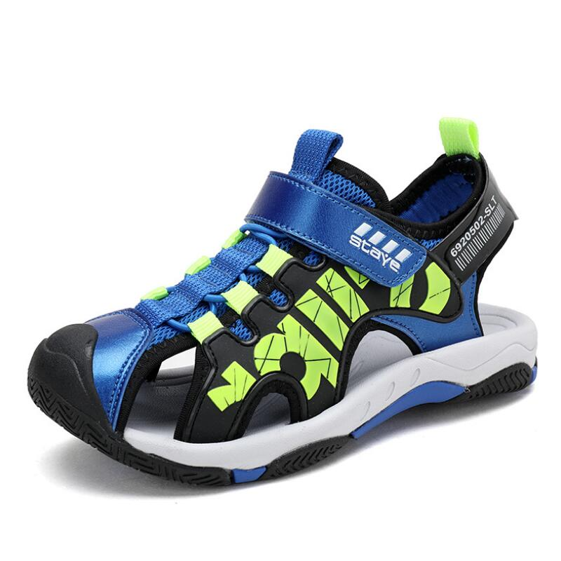 Boys Air mesh Sandals Fashion Kids Summer Flats Single Shoes Children Antislip Sole Breathable 2019 Wholesale Black Blue