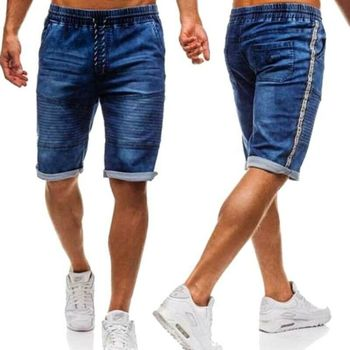 2019 Men's CottonThin Denim Ruched Short Pants New Fashion Summer Male Casual Low Waist Short Jeans Shorts Stretch Pant 1