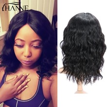 hot deal buy hanne hair brazilian lace front human hair wigs for women pre plucked natural remy natural wave short lace wigs