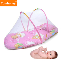 Folding Baby Crib Newborn Baby Bed with Pillow Mat Net Portable Foldable Infant Toddlers Crib with Netting Baby Travel Bed(China)
