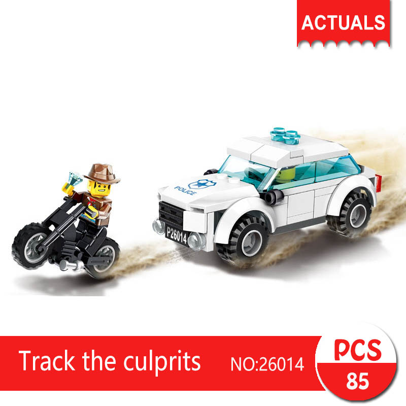 Lepin 26014 85Pcs City series Track the culprits Model Building Blocks Set  Bricks Toys For Children wange Gift city series police car motorcycle building blocks policeman models toys for children boy gifts compatible with legoeinglys 26014