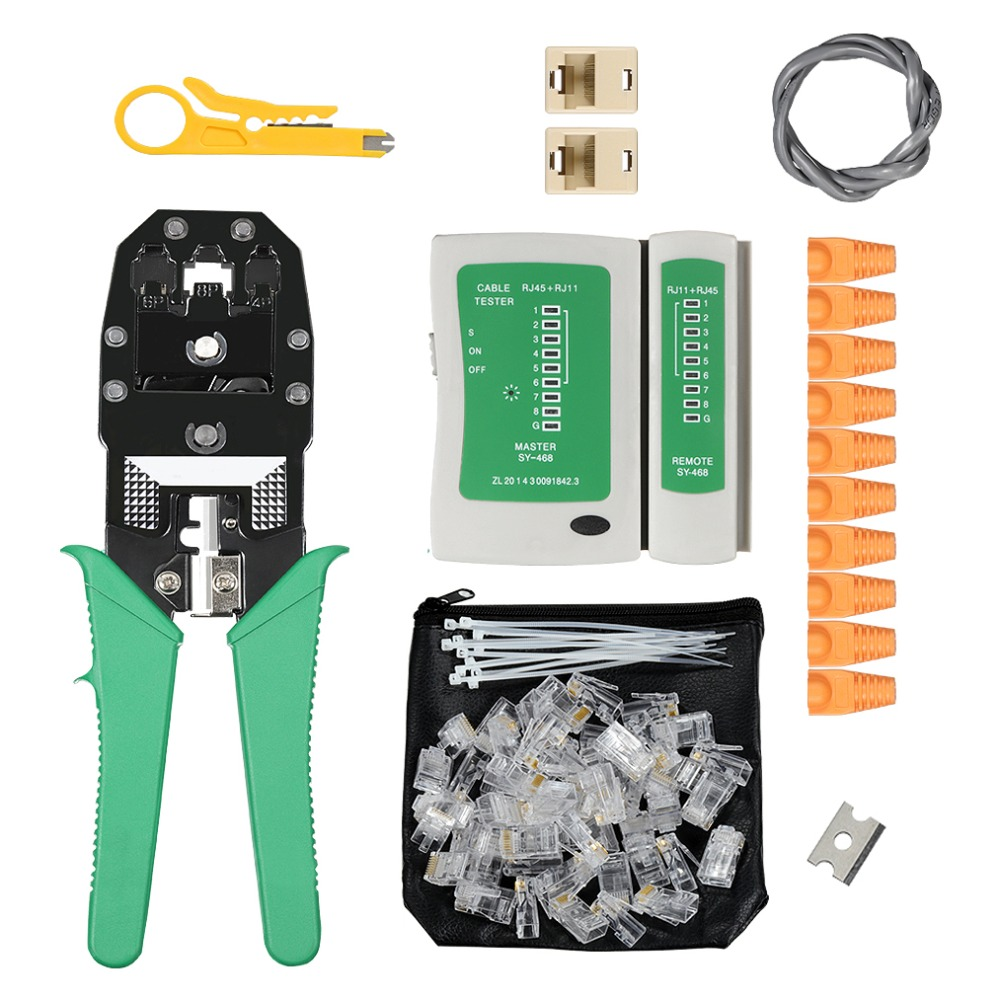 Multifunction Cable Tester Cat5 Cat6 Cable Crimper RJ11 RJ45 Wire Stripping Crimp Tool Cutting Network Tools Kit Utp Plier Clamp