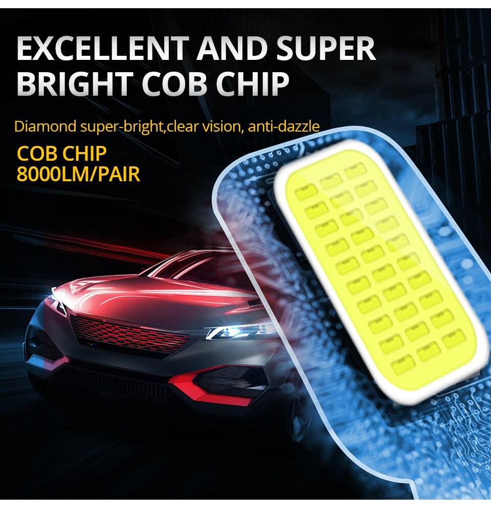 VooVoo 2PCS H4 H7 LED Car Light 72W 8000Lm 9005 9006 H11 4300K 3000K 8000K Car headlights 12V Car Near And Far Lamps Lighting (3)