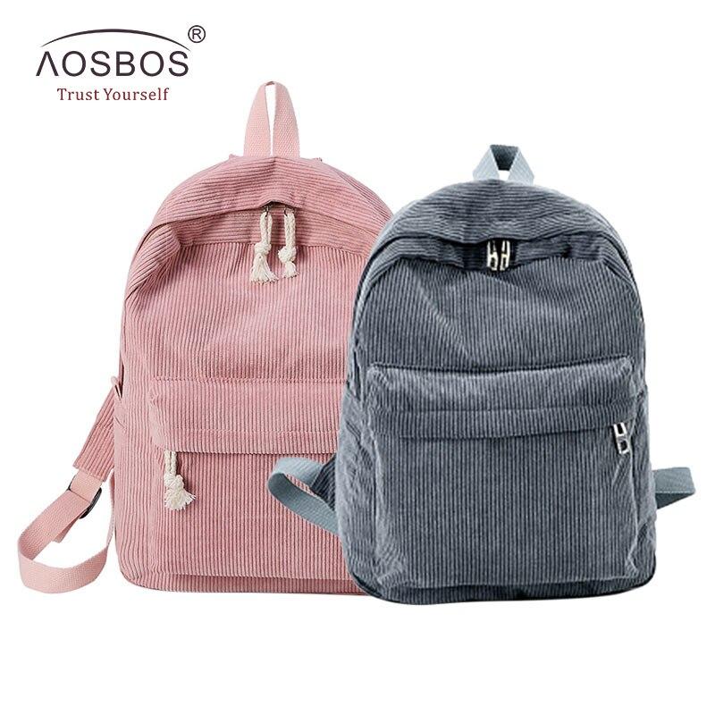 Aosbos Soft Fabric Backpack Women Corduroy School Bag For Girls Teenage Fashion Casual Students School Backpacks Laptop Bag Pack