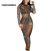 Long sleeve rhinestone patterns sexy mesh jumpsuit body femme overalls chic women outfits club wear rhinestones jumpsuits 2018