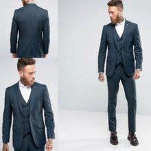 Latest Coat Pant Designs Navy Blue Peaked Lapel Formal Gentle Custom Suit 3 Pieces Slim Fit Fashion Tuxedo Vestidos De Fiesta C