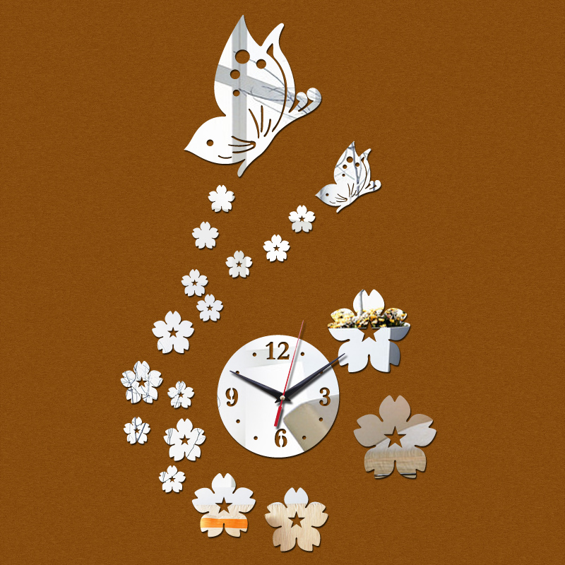 top fashion diy stickers home decoration acrylic mirror wall clock surface modern design furniture sticker