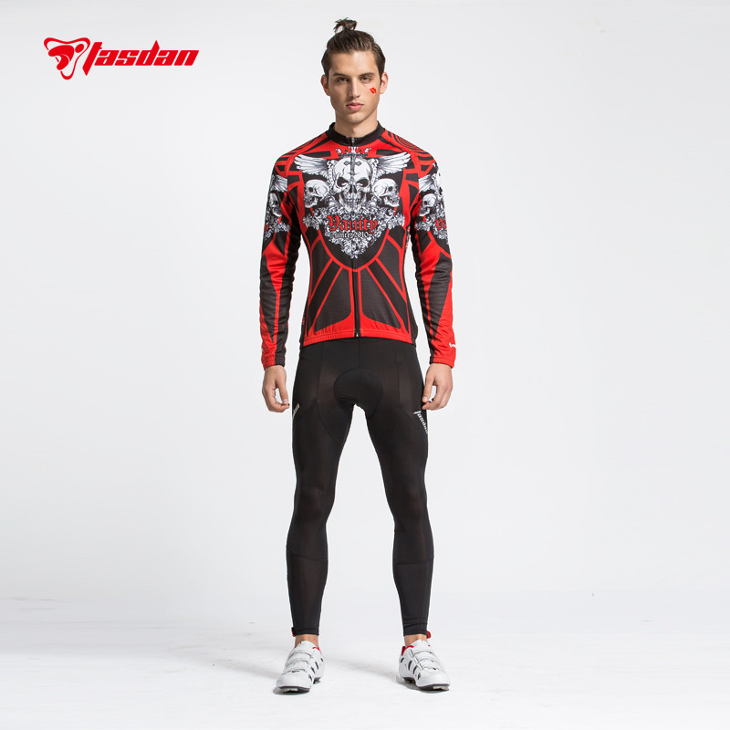 Tasdan Mens Winter Jacket Cycling Wear Jersey Sets 3D Slim Cutting Long Sleeve Suit and Tight Pant
