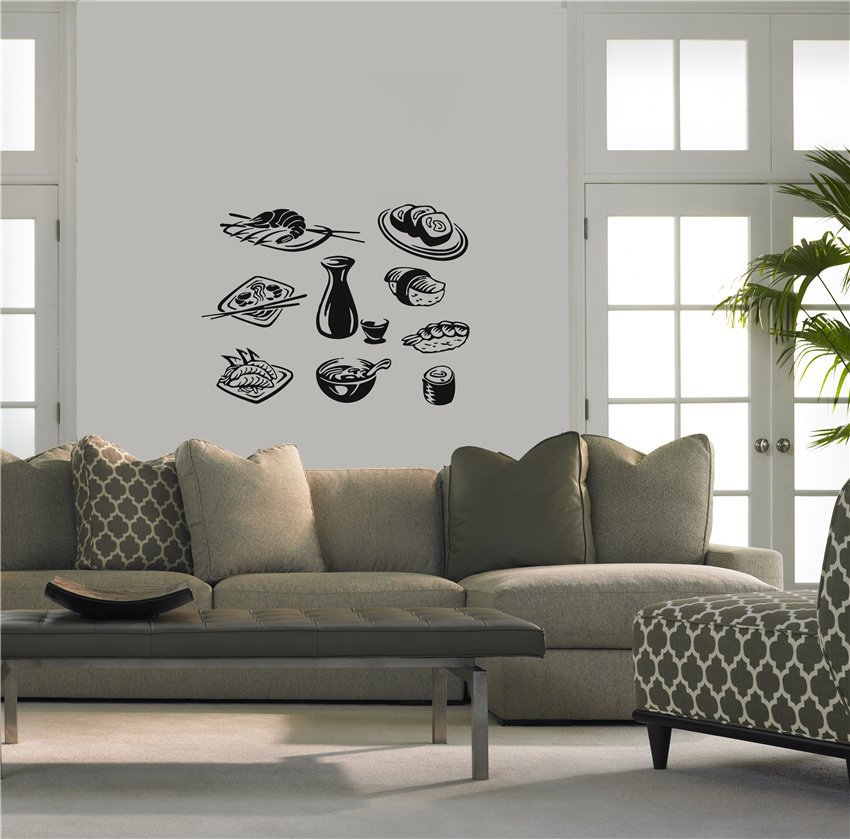 Japanese Home Decor Store: Hot New Sushi Vinyl Wall Decal Japanese Food Business