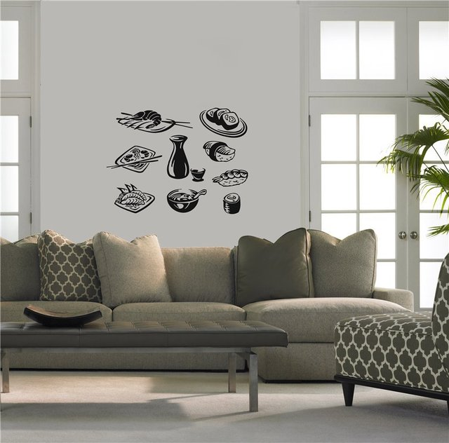 Hot New Sushi Vinyl Wall Decal Japanese Food Business Sushi Store - Japanese wall decals