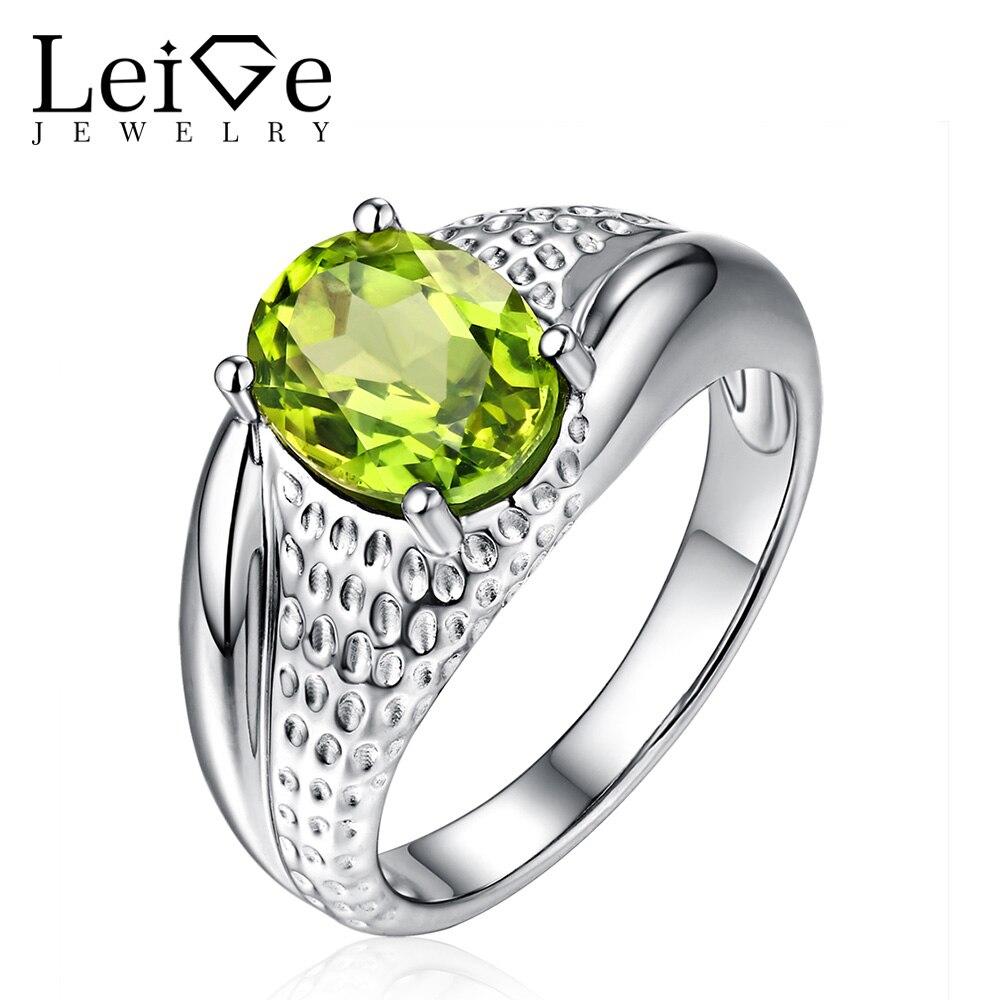 Leige smykker Natural Peridot Ring Green Gemstone Oval Cut Sterling - Fine smykker