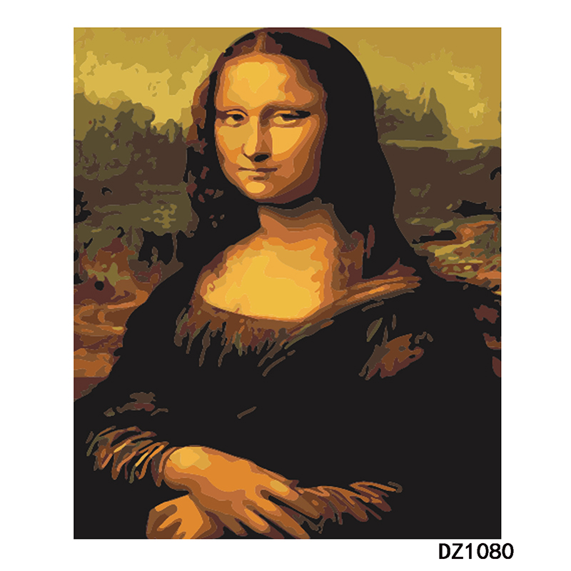 Pintura Por Números DIY Dropshipping 40x50 60x75 centímetros Sorrindo beleza Mona Lisa Figura Lona Decoração Do Casamento retrato da arte Do Presente