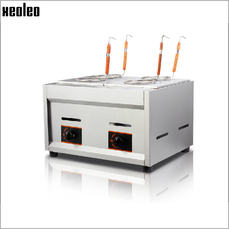 Xeoleo Commercial Gas Pasta cooker Gas noodle machine 4 pots stainless steel Pasta boiler cooker Gas deep fryer vosoco commercial electric pasta cooker electric noodle machine 2000w stainless steel pasta boiler cooker electric heating furna