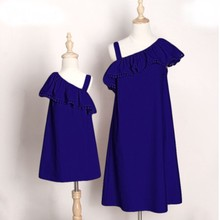 Family Set Oblique Shoulder Mommy and Me Clothes Mother Mom and Daughter Clothes Family look Matching Outfits Girls Dresses LD