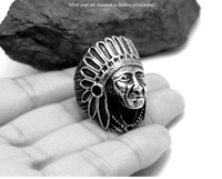 Quality Titanium Steel INDIAN Native American Chief Geronimo Ring Headdress 6 12