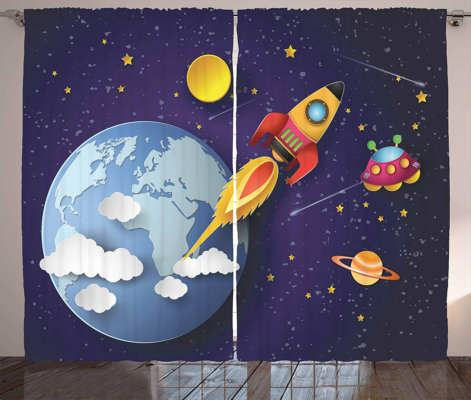 Outer Space Curtains Rocket On Planetary System With Earth Stars UFO Saturn Sun Galaxy Boys Living Room Bedroom Window Drapes
