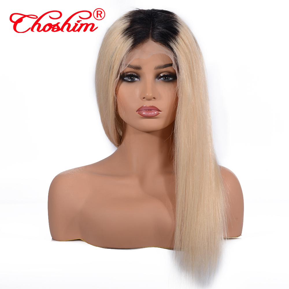 1B 613 Ombre Platinum Blonde Human Hair Wig 8-20 Inches Long Silky Straight Remy Hair Lace Front Wig for Women 130% Density image