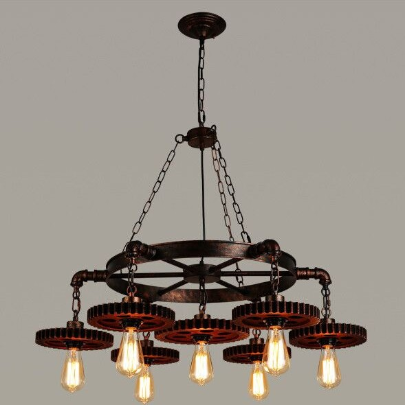 Retro Metal Chandelier Loft Industrial Gear Lamp Creative Restaurant Cafe Bar Clothing Store American Vintage Wrought Iron lamp american tracks industry retro chandelier bar coffee bar restaurant cafe clear chandelier clothing store