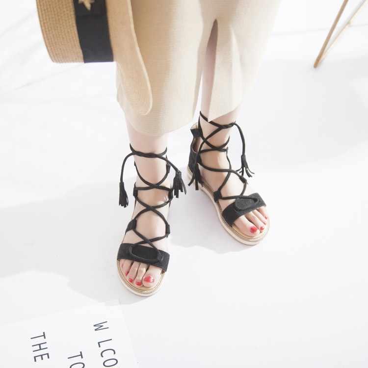 גודל גדול 9 10 11 12 13 14 עקבים גבוהים סנדלי נשים נעלי אישה קיץ גבירותיי רומי רצועת סנדלי
