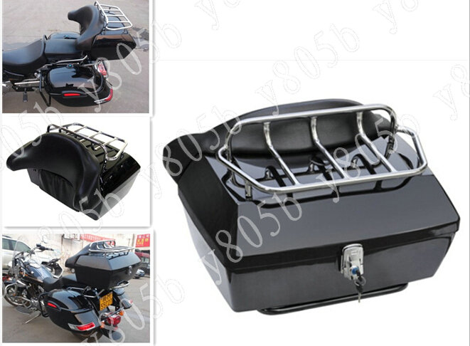 Motorcycle Trunk Tail Box Luggage With Top Rack Backrest