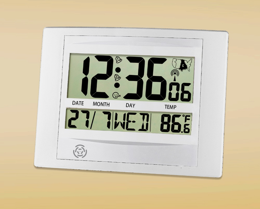 JIMEI H104C-WWVB digital Wall/Table Clock USA Radio controlled Clock With Alarm Snooze Temperature Calender for household use