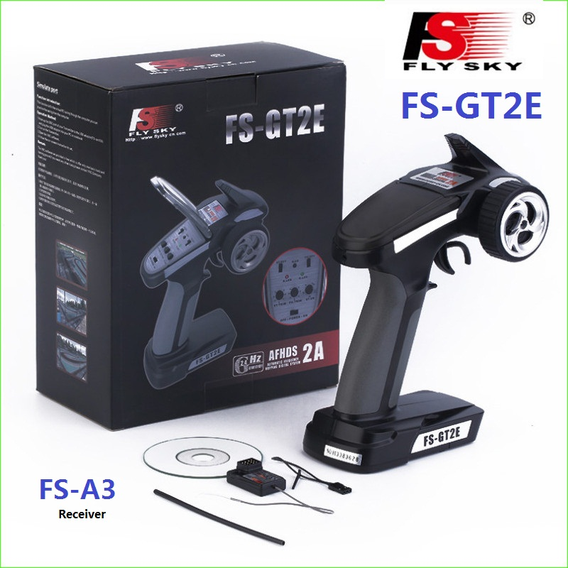 Flysky FS-GT2E AFHDS 2A 2.4g 2CH Radio System Transmitter with FS-A3 Receiver for RC Car Boat toys with retail box image