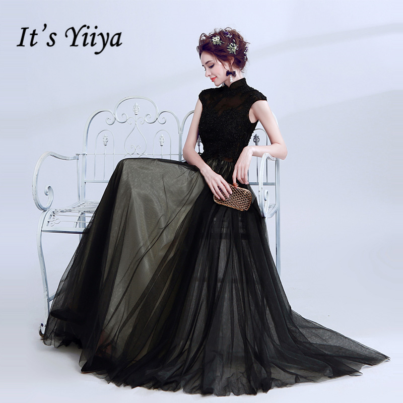 It's Yiiya 2018 Hot Elegant Luxury Evening Dresses Sexy Famous Designer Pearls Sleeveness Party Formal Dress LX217