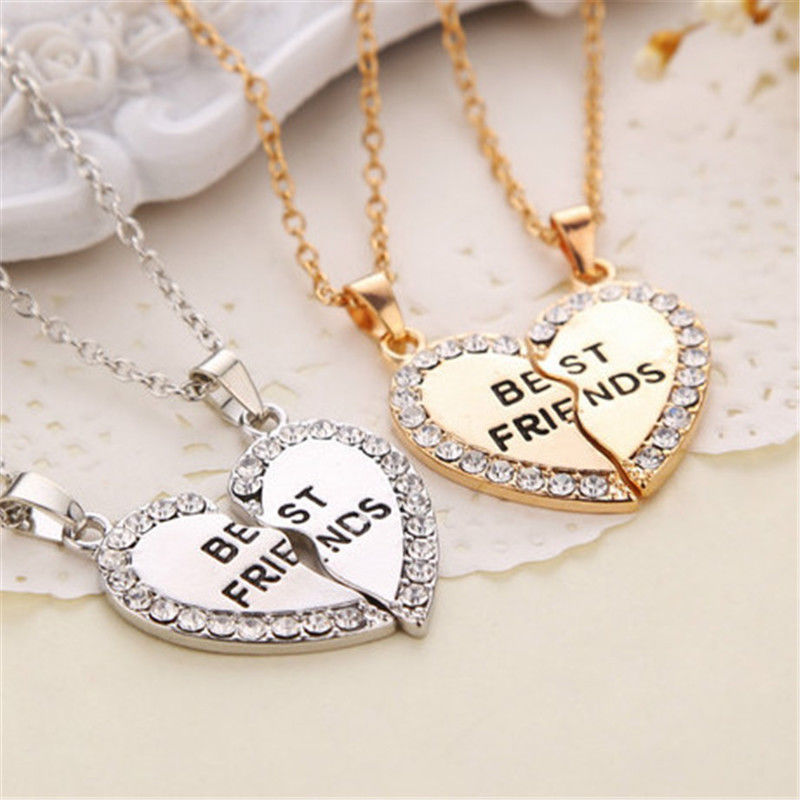 SliverGold-Color Necklaces Charming Splice Heart Pendant Best Friend Letter Necklace Women Gifts Pick Jewelry