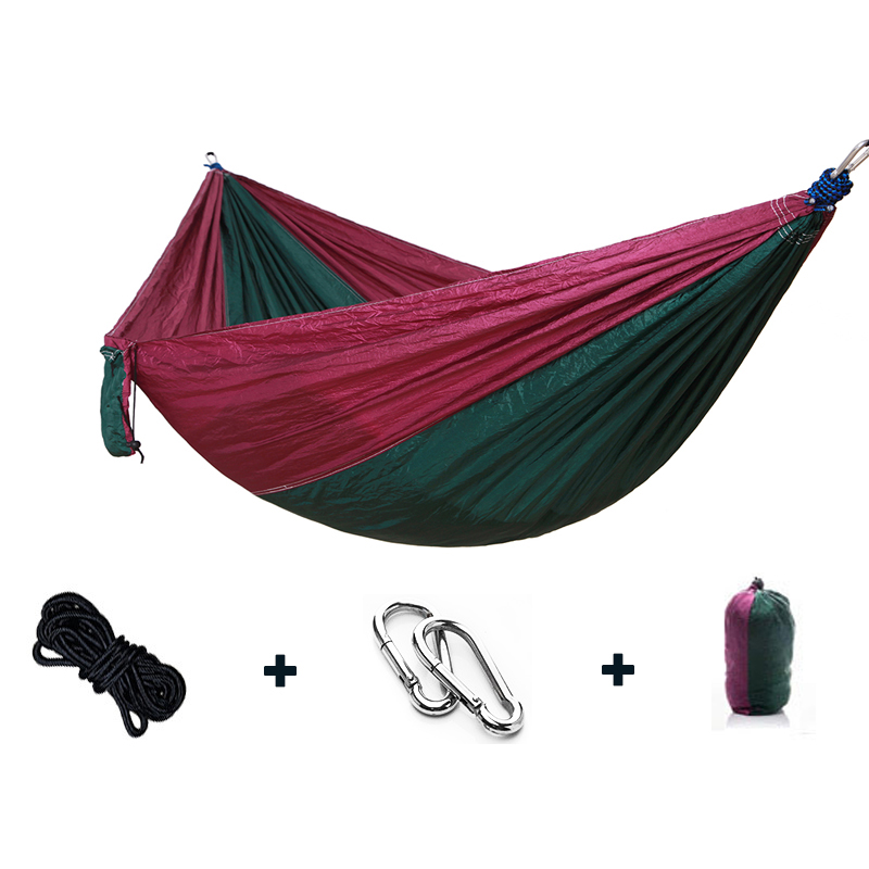 Outdoor Portable Single Double Hammock Outdoor Furniture Picnic Mat Camping Hammock Parachute Garden Soft Bed Swing blue leisure outdoor hammock portable parachute hammock outdoor furniture single double hammock picnic mat camping hammock