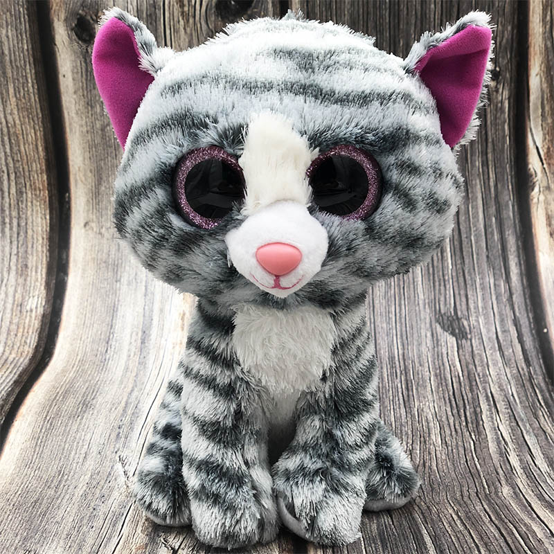 25cm Stuffed Big Eye Ty Beanie Boos Soft beanie boo Plush Toy Stuff Doll Silver Gradient Dog Husky Ty Toys For Girl Children цена