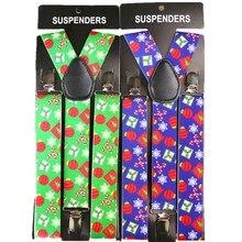 3.5cm Wide Christmas Suspenders Adjustable Adult Suspender Strap Christmas Tree Pattern Print Women Men Y Shape Elastic Brace