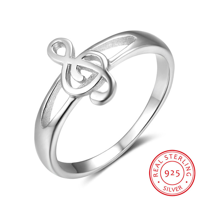 925 Sterling Silver Rings For Women Musical Notes Pattern Silver Rings For Music
