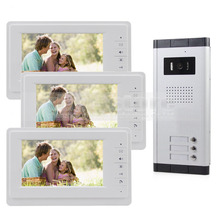 DIYSECUR 7″ Wired Apartment Video Door Phone Audio Visual Intercom Entry System IR Camera For 3 Families