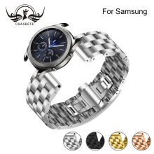 Compatible Samsung S3 Band, 20mm 22mm Stainless Steel Watchband for Samsung Galaxy Watch 42mm 46mm SM-R810/SM-R800 Quick Release genuine nylon leather watchband 20mm 22mm for samsung galaxy watch 42mm 46mm sm r810 r800 quick release band canvas strap